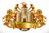 Coat of arms. Castle and lions. 3d vector icon - 183533934
