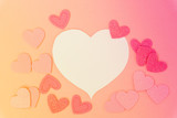Valentines day frame with hearts on pink background with copy space, toned - 183535982
