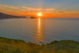 Ocean sunset panorama, Zarautz, Spain - 183537344