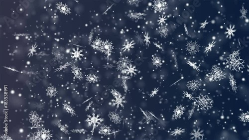 Poster Water planten Christmas and New Year seamless looping animation. Christmas snowflakes on dark blue background. Winter wonderland magic snowflakes.