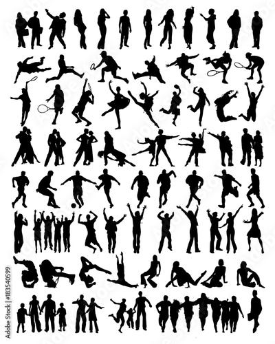 Fototapeta Big collection of people silhouettes, vector