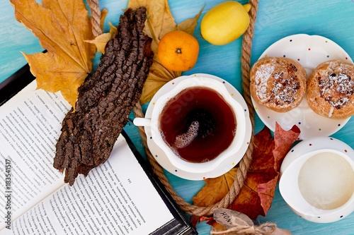 Papiers peints The Cake Shu, fragrant tea . The atmosphere of coziness