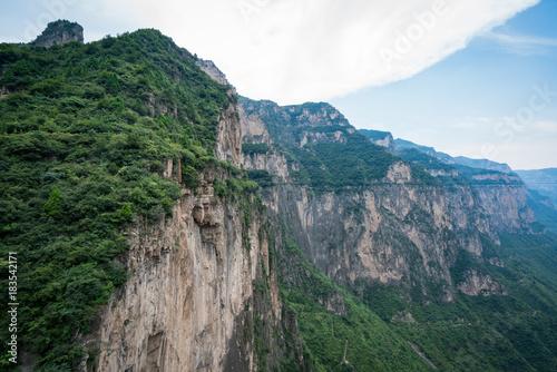 Poster Groen blauw mountain