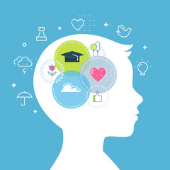Emotional Intelligence, Feeling and Emotions Concept Vector Illustration © juliabatsheva