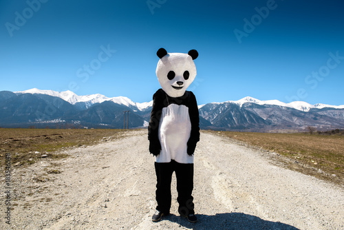 Plexiglas Panda A man in a panda suit is waiting on an empty road against a background of mountains. Bulgaria, Bansko - 2015.