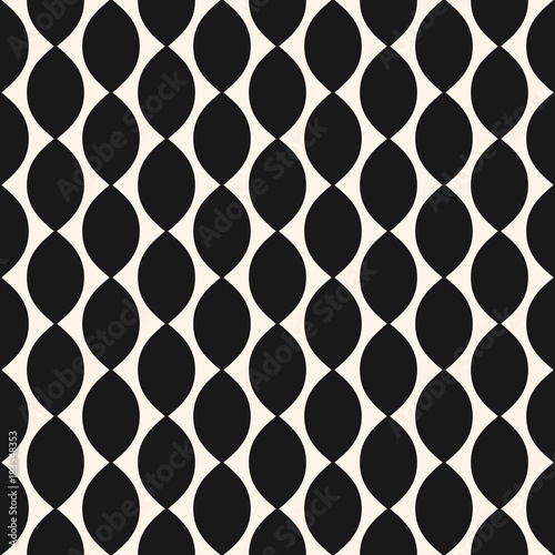 Cotton fabric Vector geometric seamless pattern with ovate shapes, curved lines, repeat tiles. Grid pattern.