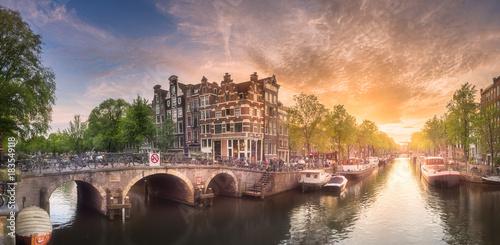 Poster Amsterdam Amsterdam city sunset
