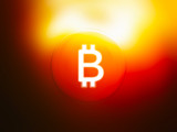 Glowing bitcoin sign illustration background - 183552390