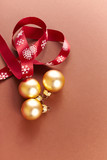 Golden Christmas Ornaments with Satin Ribbon - 183554115