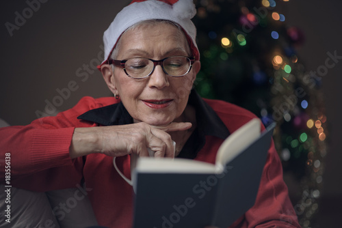 Senior old lady reading her favorite book during December holiday, house decorat Poster