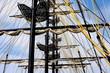 ship mast with folded sails