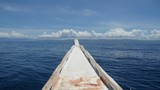 Beautiful view from a bow of wooden boat at sea - 183562959