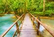 Bridge on the way to Tat Sae Waterfalls. Beautiful landscape. Laos. - 183563530