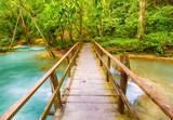 Bridge on the way to Tat Sae Waterfalls. Beautiful landscape. Laos.