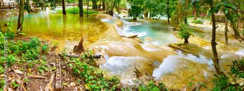 Staande foto Panoramafoto s Tat Sae Waterfalls. Beautiful landscape. Laos. Panorama