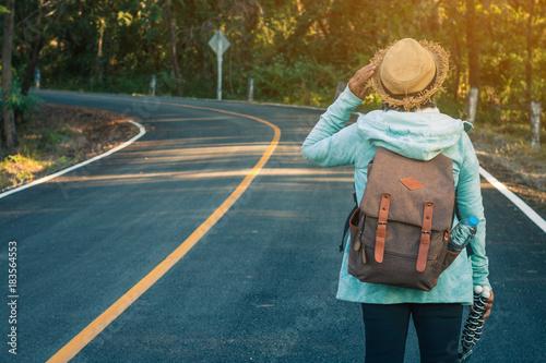 Staande foto Groen blauw Grandmother backpack travel, Concept backpack travel.