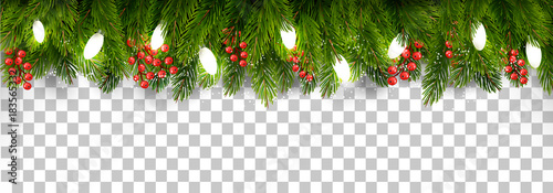 Foto op Canvas Wanddecoratie met eigen foto Christmas holiday decoration with branches of tree and garland on transparent background. Vector.