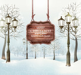 Christmas winter landscape with lampposts and wooden board. Vector - 183565789
