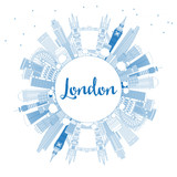 Outline London England Skyline with Blue Buildings and Copy Space. - 183571140