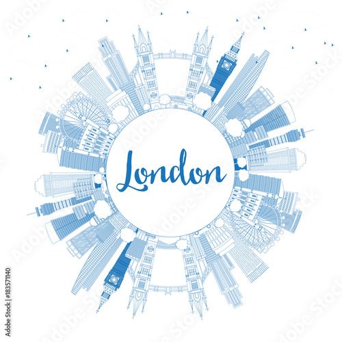 Fridge magnet Outline London England Skyline with Blue Buildings and Copy Space.