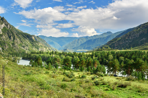 Fotobehang Bergrivier View of Katun river. Altai Republic, Russia