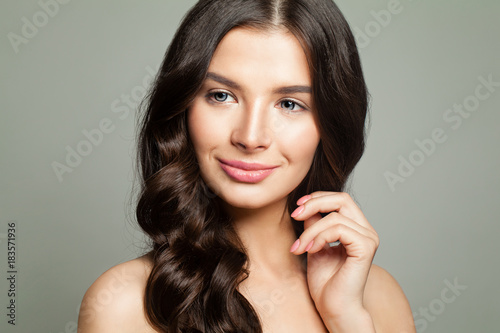 Young Woman with Healthy Skin and Brown Hair Poster