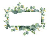 Watercolor vector wreath with green eucalyptus leaves and branches. - 183572942