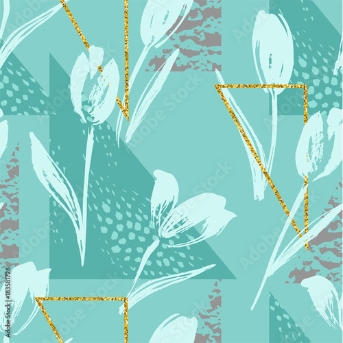 Fototapeta Abstract floral seamless pattern with tulips and geometric elements.