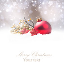 Christmas decoration in snow with free space. Celebration balls and other decoration. Christmas concept - 183584385