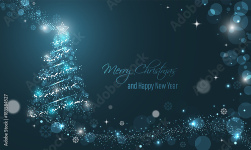 Iluminated Christmas tree with glitter, stars, snowflakes and transparent circles on a blue winter glowing vector background.