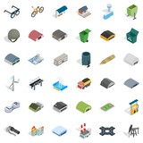 Oil tower icons set, isometric style - 183586557