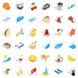 East culture icons set, isometric style - 183588744