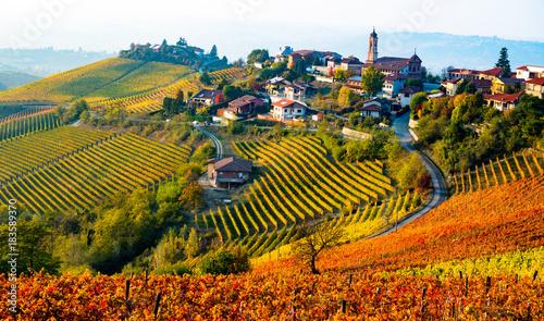 Fotobehang Wijngaard Italy village in autumn
