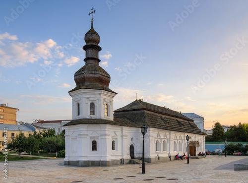 Staande foto Kiev Refectory of St John the Divine with wooden tiled roof. St Michael's Golden Domed Monastery complex in Kiev, Ukraine