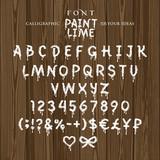 Шрифт, нарисованный кистью, белой краской, извёсткой, на темном деревянном фоне, подтёки, иллюстрация, вектор - 183591502