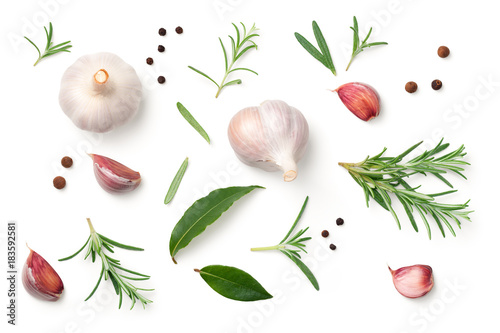 Garlic, Rosemary, Bay Leaves, Allspice and Pepper Isolated on White Background