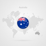 Australia flag glossy icon. Vector World Map infographic symbol. International global sign. Australian template for business, marketing project, web design, presentation, media. Dotted illustration - 183594746