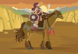 barbarian rider horse warrior with sword - 183594969