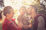 Happy family outside. Autumn season. - 183598942