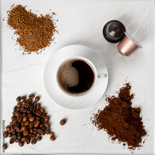 Papiers peints Cafe Espresso cup, coffee beans, ground coffee, coffee capsule and instant coffee on a white background