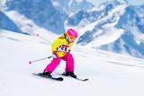 Ski and snow fun. Kids skiing. Child winter sport. - 183601535