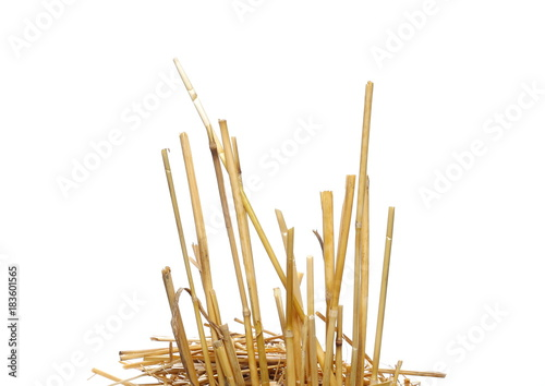 Plexiglas Natuur Straw pile isolated on white background, clipping path