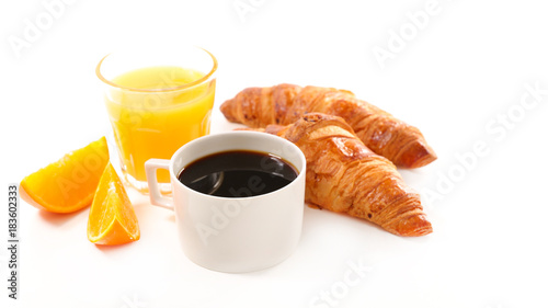 Wall mural coffee cup, croissant and orange juice