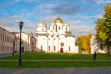 St Sophia cathedral in autumn day and tourists walking along in Veliky Novgorod, Russia