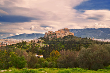 Greece - Panoramic view of the Acropolis of Athens. The most important archeological site of the city.