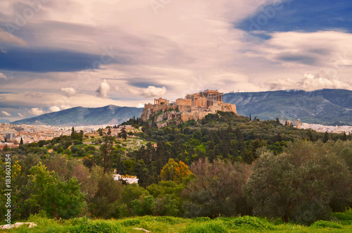 Staande foto Athene Greece - Panoramic view of the Acropolis of Athens. The most important archeological site of the city.