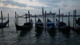 Gondolas on the wave at Piazza San Marco. San Giorgio Maggiore at the background. Venice. Italy - 183606113