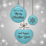 Merry Christmas and Happy New Year fashionable blue & silver banner, pattern, card & background vector  - 183606992