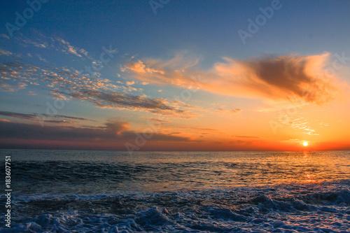 Poster Zee zonsondergang sunset black sea Sochi