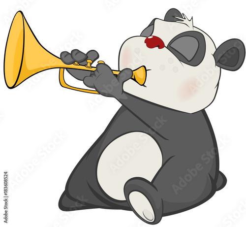 Deurstickers Babykamer Illustration of a Cute Panda Trumpeter. Cartoon Character